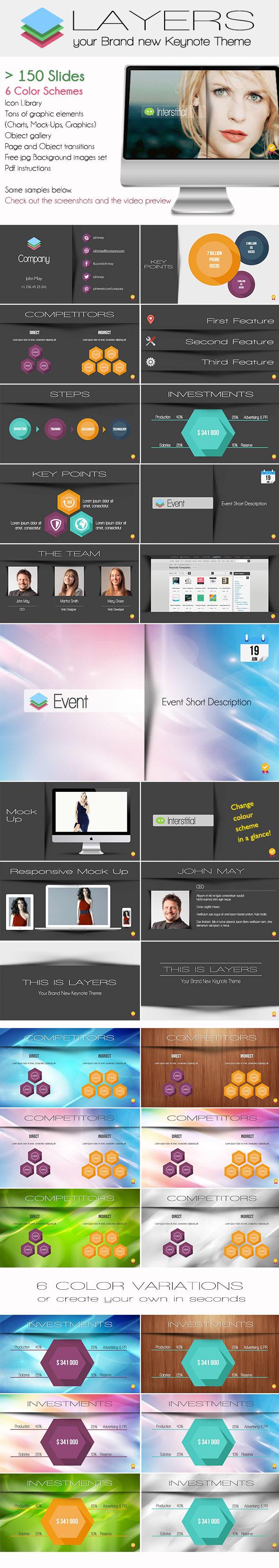 """Il modello Keynote professionale """"Layers"""" in vendita su Creative Market"""