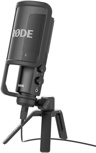 Microfono a Condensatore con Filtro Anti-pop e Supporto da Tavolo, Compatibile con iPad, Cavo USB da 6 m, Nero/Antracite
