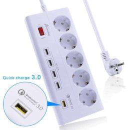 Ciabatta + Hub USB + Caricabatteria USB