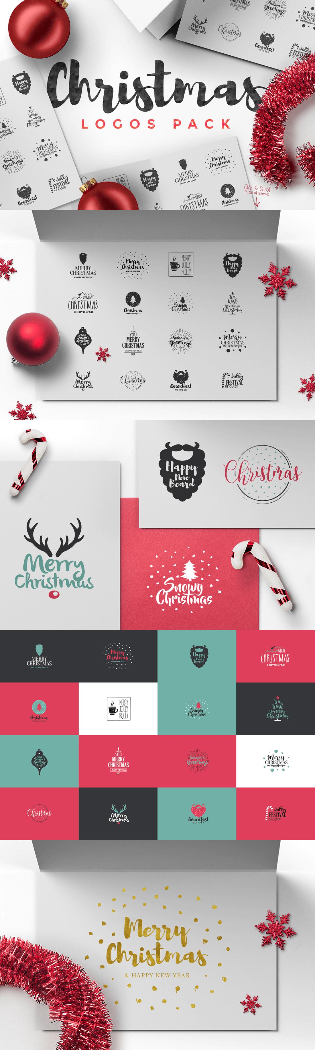 Alcuni esempi degli elementi grafici inclusi in questa splendida raccolta a tema natalizio