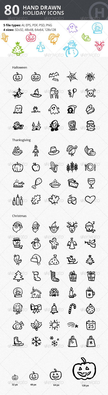 Raccolta di icone perfette per le festività